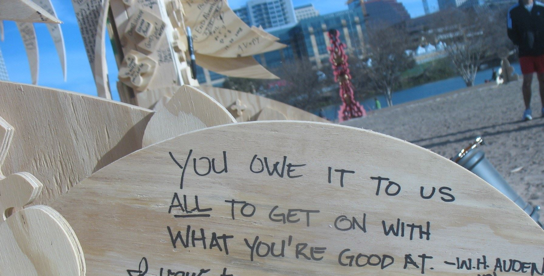 """Piece of resolution clock - someone wrote """"'You owe it to us all to get on with what you're good at.' - W.H. Auden"""""""